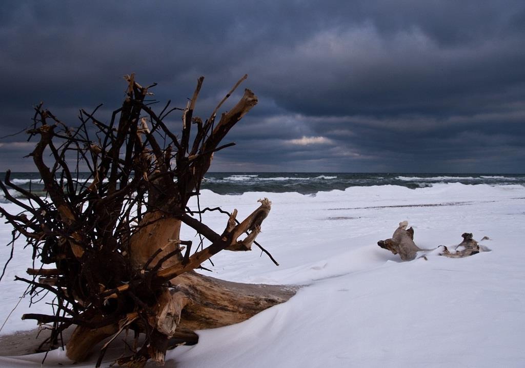 Czarne chmury zimą nad morzem
