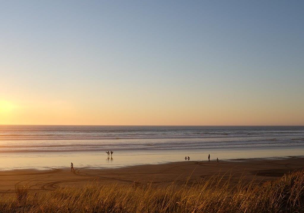 Zachód Słońca na plaży w Juracie.